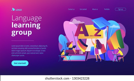 Students practicing dynamic foreign language learning at workshop. Foreign language workshop, language learning group, native speaker course concept. Website vibrant violet landing web page template.