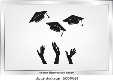 Students of pupil hands graduation caps in the air. Flying academic hats in the sky isolated flat design vector illustration