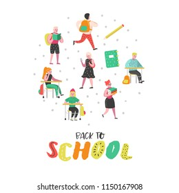 Students and Pupils Characters Set. Back to School Kids. Classroom with Schoolchildren with Backpacks, Books. Education Concept. Vector illustration