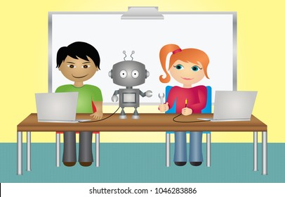 Students with robot and computers in school classroom