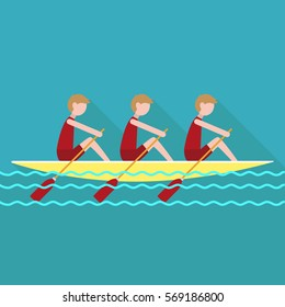 students rowing