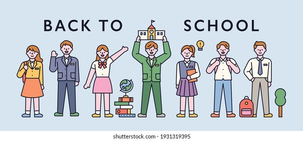 Students in school uniforms are standing in a row and greeting. flat design style minimal vector illustration.