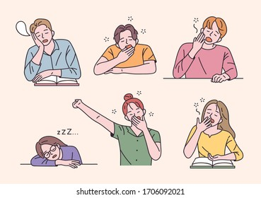 Students are sitting at the desk and yawning with a sleepy face. flat design style minimal vector illustration.
