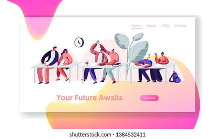 Students Sitting at Desks on Lecture in University. Learning, Communicating, Sleeping on Seminar. Higher Education, Knowledge. Website Landing Page, Web Page. Cartoon Flat Vector Illustration, Banner