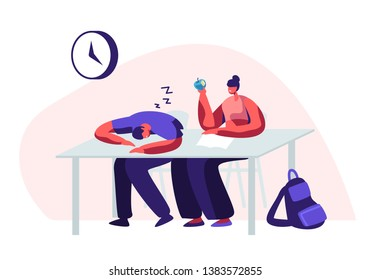 Students Sitting at Desks Visiting Lecture in University. Male Character Sleeping, Girl Holding Apple in Hand. Learning. Seminar, Higher Education, Gaining Knowledge Cartoon Flat Vector Illustration