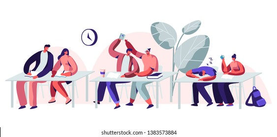Students Sitting at Desks Visiting Lecture in University. Male and Female Characters Learning. Communicating, Sleeping on Seminar. Higher Education, Gaining Knowledge. Cartoon Flat Vector Illustration