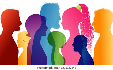 Students smiling. Young people smiling. Young people who are well together. Profiles of young colored silhouettes. Vector Multiple exposure