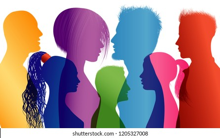 Students talking. Students. Young people. Young people talking. Dialogue between students. Colored silhouette profiles. Vector Multiple exposure