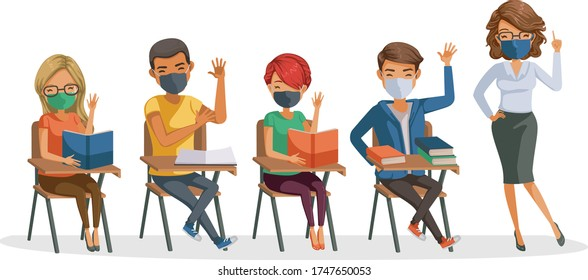 Students with teachers in classroom studying.  Man and woman are mask. Group of multiethnic diverse hands raised in the classroom.  person wear face mask protect virus. Protect dust PM 2.5. new normal