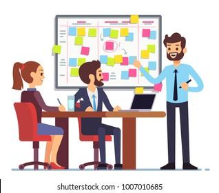 Students team work on tasks process schedule in training room with scrum planning board. Teamwork scheme planning on whiteboard, vector illustration