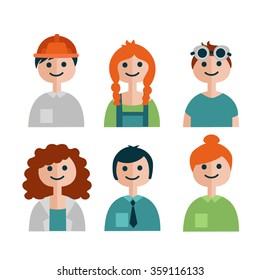 Students of technical university. Flat style vector colorful caracters. Perfect for presentation and motion graphic.