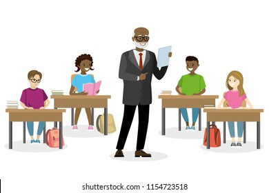 Students teens sitting in the workplace and teacher standing ,front view,education process concept, isolated on white background,flat vector illustration