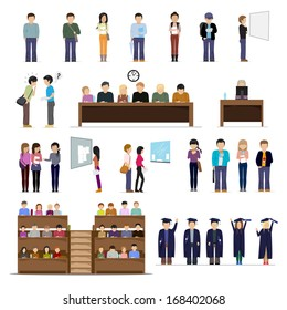 Students At The University In Different Situations - Isolated On White Background - Vector Illustration, Graphic Design Editable For Your Design