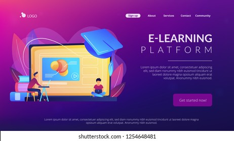 Students using e-learning platform video on laptop and graduation cap. Online education platform, e-learning platform, online teaching concept. Website vibrant violet landing web page template.
