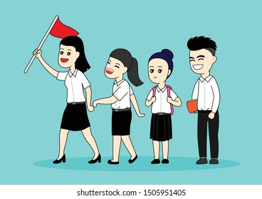 Students walking in a line, Cartoon vector illustration