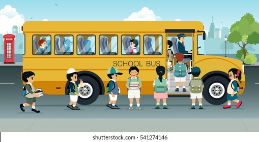 Students are walking on the bus parked on the street.