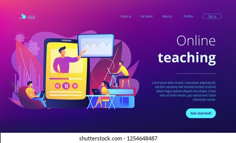 Students watching online training video with teacher and chart on tablet. Online teaching, share your knowledge, english teacher online concept. Website vibrant violet landing web page template.