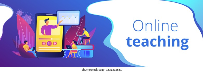 Students watching online training video with teacher and chart on tablet. Online teaching, share your knowledge, english teacher online concept. Header or footer banner template with copy space.