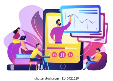 Students watching recorded lecture with professor talking from tablet. Podcast courses, audio and video recording, class recording access concept, violet palette. Vector isolated illustration.