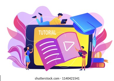 Students watching video tutorial on tablet with player sign. Online education, web educational video, online courses and training, e-learning concept, violet palette. Vector isolated illustration.
