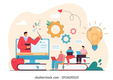 Students watching webinar on computer, studying online. Teacher giving video lecture to audience. Vector illustration for distance education, learning course, distance lesson concept