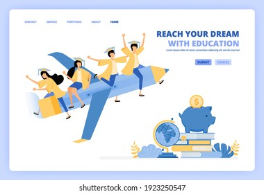 students wear toga and ride pencil, metaphor for reach future dreams with savings and educational scholarship. Can be use for landing page template ui ux web mobile app poster banner website flyer ads