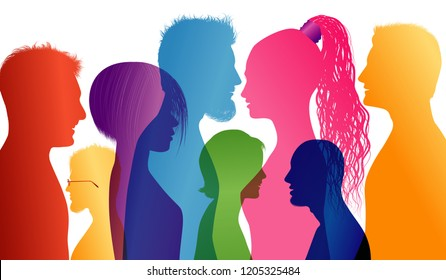 Students. Young people. Students talking. Young people talking. Dialogue between students. Colored silhouette profiles. Vector Multiple exposure