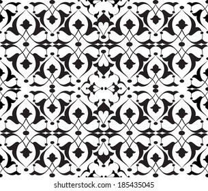 studied traditional oriental seamless damask pattern with floral motifs