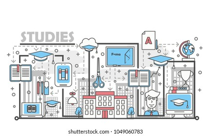Studies concept vector illustration. Modern thin line art flat style design element with educational symbols, icons for website banners and printed materials.