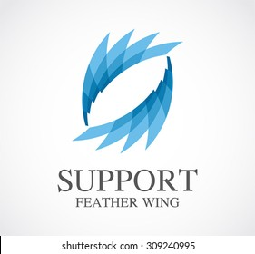 Studio art feather colorful abstract vector logo design template creative business icon company identity innovative symbol concept