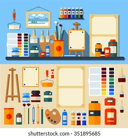 Studio of Art. Set of Tools and Materials for Creativity and Painting. Flat Style in Vector