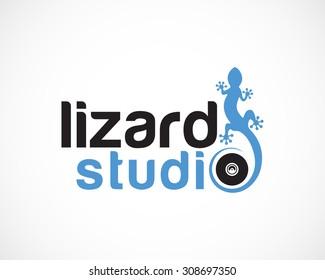 studio, audio lizard logo design