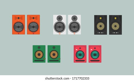 Studio audio monitors of various types and colors in a flat style