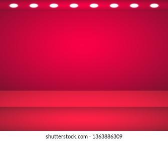 Studio background. Vector empty red studio for your design, spotlight. Vector graphics