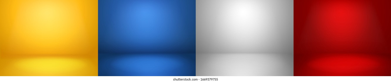 Studio backgrounds. Red, blue, yellow and blue walls for photography space vector simple set with bright gradient spotlight