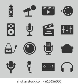 Studio icons set. set of 16 studio filled icons such as movie clapper, microphone, speaker, sliders, earphones, camera lense, camera mode, remote control, clapper board