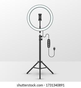 Studio lamp light ring, selfie photo camera stick