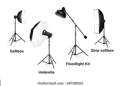 Studio lighting equipment isolated on white background. Spotlight and lamp, flash and professional technology photographic, vector illustration