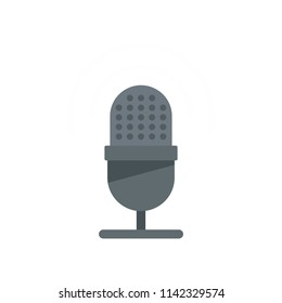 Studio microphone icon. Flat illustration of studio microphone vector icon for web isolated on white
