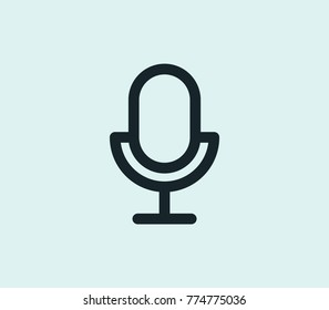 Studio microphone icon line isolated on clean background. Mic concept drawing recording device input microphone icon line in modern style. Vector illustration for your web site mobile logo app design