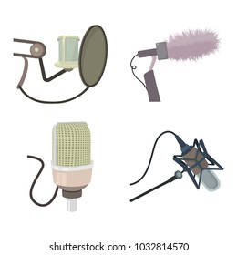 Studio microphone icon set. Cartoon set of studio microphone vector icons for web design isolated on white background