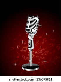 studio microphone on musical background. vector illustration