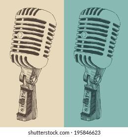 studio microphone vintage illustration, engraved retro style, hand drawn, sketch