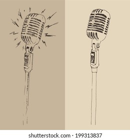 studio microphone vintage illustration, engraved retro style, hand drawn, sketch