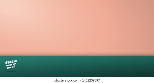 studio pastel peach and dark green table background.Two tone color wall and floor room perspective backdrop ,3d Vector template mock up for display stage of product.luxury bg for holiday festive