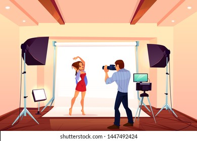 Studio photo shoot with model posing on backstage with light and professional equipment. Photographer with camera take shots of young girl for glamour magazine advertising. Cartoon vector illustration