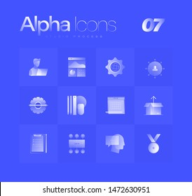 Studio process spot illustrations for branding, web design, presentation, logo, banners. Clean gradient icons set with thin lines and flat shapes. Pure transparency effect on blue color background.