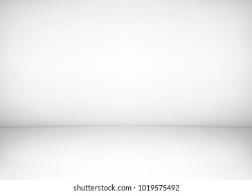 Studio room interior. White wall and floor background. Clean workshop for photography or presentation. Vector illustration