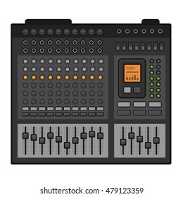 Studio Sound Mixer. Music Equalizer Console. Vector illustration