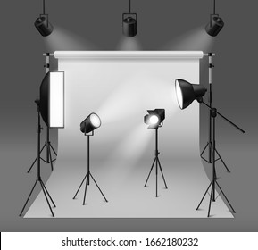 Studio spotlights. Realistic photo studio with professionals equipment, floodlight, cyclorama and tripod, soft box light and camera, vector set of standing lamp